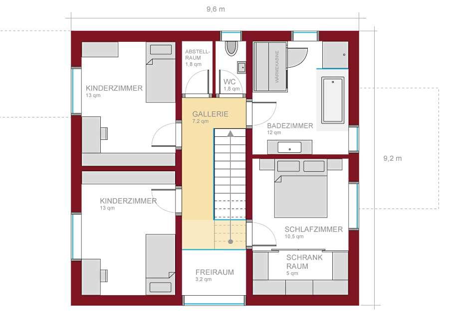 grundriss einfamilienhaus mit gerader treppe raum und m beldesign inspiration. Black Bedroom Furniture Sets. Home Design Ideas