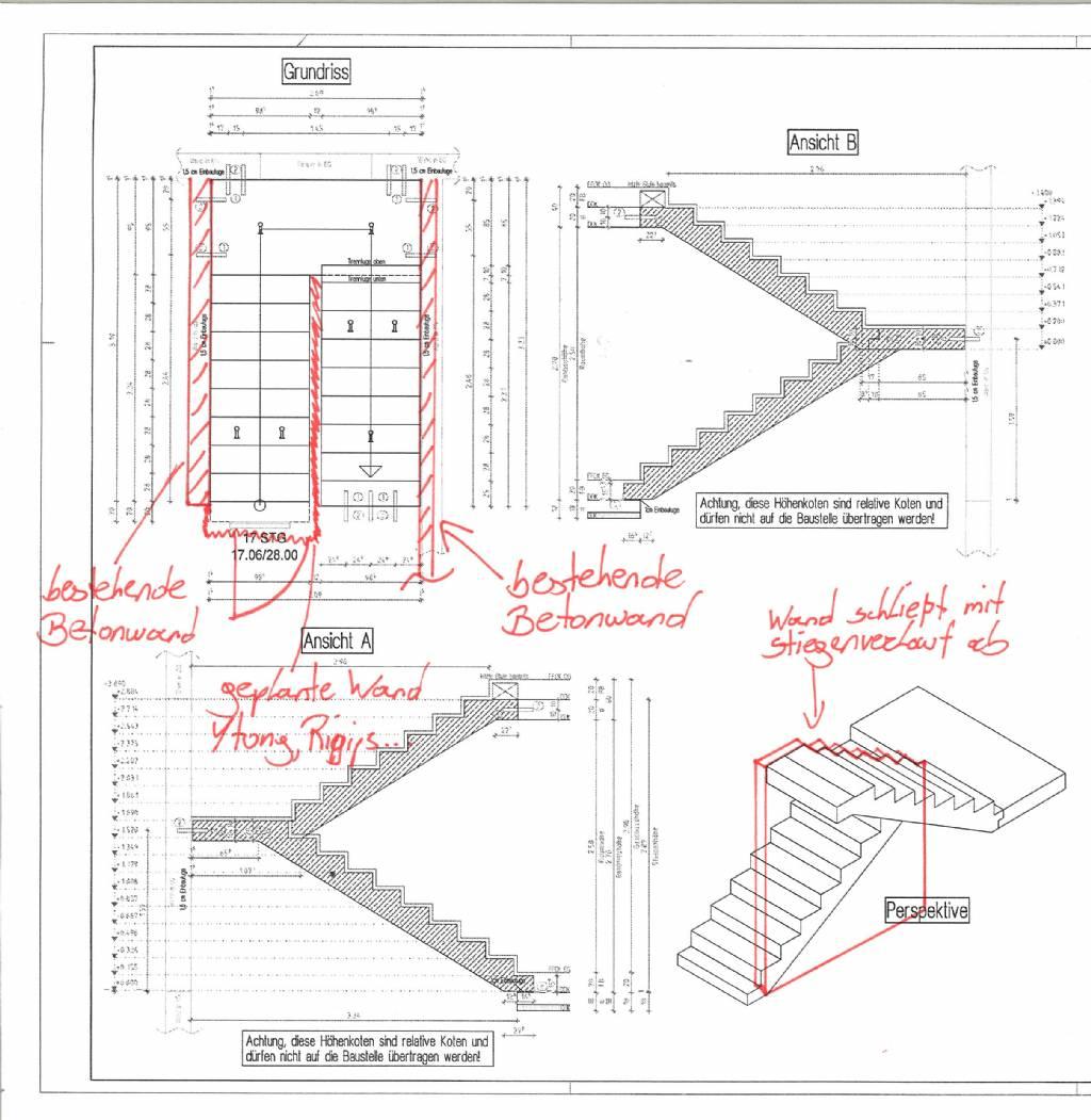 rigipswand zwischen stiege mit podest bauforum auf. Black Bedroom Furniture Sets. Home Design Ideas